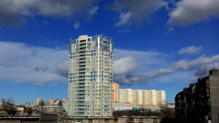 timelapse blue sky and buildings