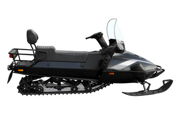 Black powerful snowmobile