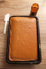 Preparing Sweet Chocolate Cake