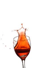 wine splash in the glass