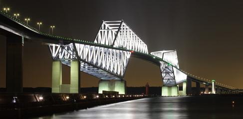 Tokyo bay and Tokyo gate bridge at night time