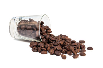 coffee beans pour out from glass shot © F16-ISO100