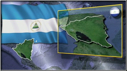 Nicaragua flag and map animation