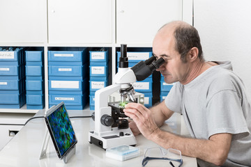 Senior male scientist or tech works in the lab