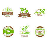 Round eco green stamp label of healthy organic natural fresh
