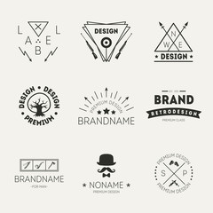 Retro Vintage Insignias or Logotypes set. Vector design
