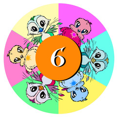 birds with number six