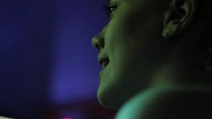 young girl singing at disco