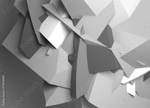 Abstract black and white digital chaotic polygonal surface