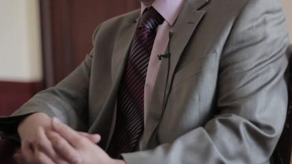 Business man talking during an interview