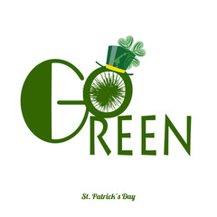 go green saint patrick´s day text with hat, over white color ba