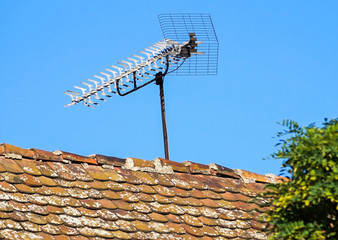 Television antenna on the roof of an old building