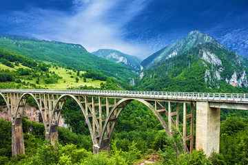 Mountain landscape, Montenegro. Durdevica Tara arc bridge