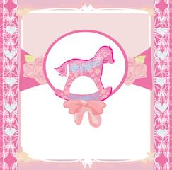 Rocking Horses - baby girl baby shower invitation card