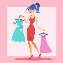 Girl shopping dress choice