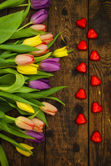 bouquet of tulips and candy