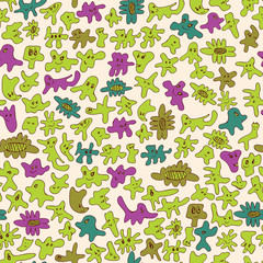 Seamless pattern of monsters
