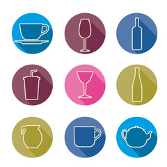 Bottle cup glass collection line vector silhouette