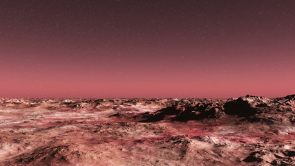 Mars surface under starry sky - time-lapse