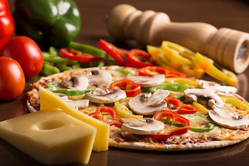 Tasty italian pizza with bell pepper