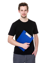 Smiling man holding clipboard