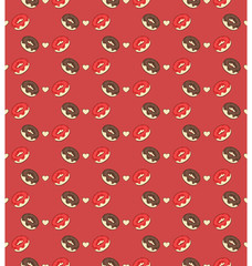 Seamless sweet pattern with donuts and hearts on red background