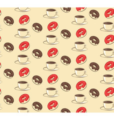 Seamless sweet pattern with donuts and cup of coffee on beige ba