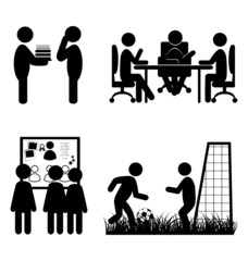 Set of flat office internal communications icons isolated on whi