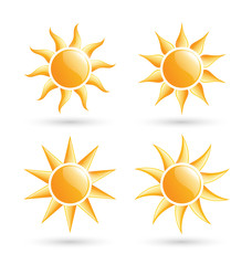 Three suns icons with shadow isolated on white background