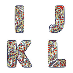 Letters I, J, K, L.  Set colorful alphabet of doodles patterns.