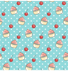 seamless sweet pattern with cupcake and cherry