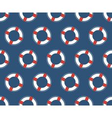 Seamless sea pattern. White lifebuoy on blue background