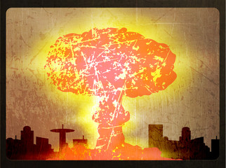 Illustration of a nuclear explosion, the city's skyline