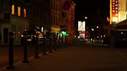 Nighttime Empty Sidewalk