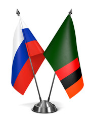 Russia and Zambia - Miniature Flags.