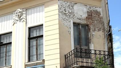 Old Building Facade in Ruin