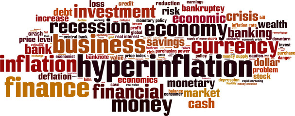 Hyperinflation word cloud concept. Vector illustration