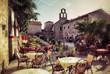 Leinwanddruck Bild - Montenegro, street cafe