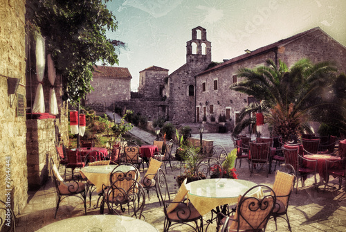 Leinwanddruck Bild Montenegro, street cafe