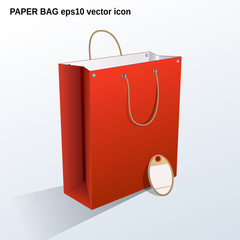 Red shopping bag 3d vector icon