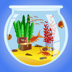 Illustration of Aquarium with fishes, algae and decorations