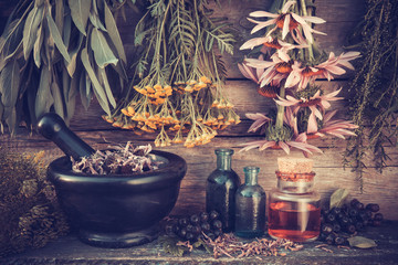 Vintage stylized photo of  healing herbs bunches, black mortar a