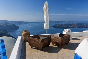 Exclusive roof in Santorini. Summer background.