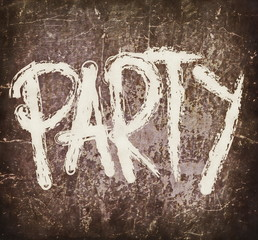 party on old rusty metal plate background