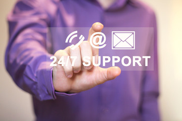 Business button web 24 hours support sign.
