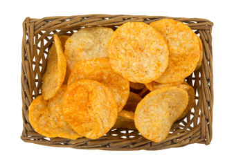 Top View Of Barbecue Chips In A Wicker Basket