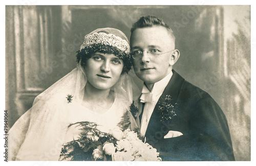 Original antique wedding photo. Vintage picture - 79649064