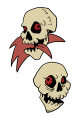 Two color Cartoon skull on a white background. Vector illustrati