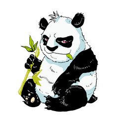 Colored drawing large panda with bamboo shoots. vector illustrat