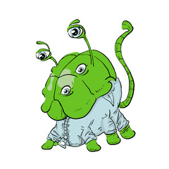 Colored Cartoon drawing of a green monster. Vector illustration